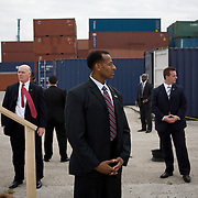 US Secret Service Agents stand post as Pres. Bush tours the Blount Island Marine Terminal Tuesday, March 18, 2008, in Jacksonville, FL...Photo by Khue Bui