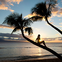 Enjoying sunset on the Hawaiian island of Maui.