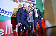 Roma 26  Gennaio 2013.Il partito di centro destra Fratelli d Italia apre la campagna elettorale.Ignazio La Russa, Giorgia Meloni, Guido Crosetto.Rome January 26, 2013.The new center-right party: Brothers of Italy opens the campaigning