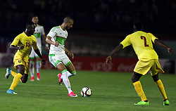 June 6, 2017 - Blida, Algiers, Algeria - Keita Naby Dece (L) of Algeria vies Hanni Sofiane (R) of Guinea during Friendly Match Algeria vs Guinea at the Mustapha Tchaker Stadium in Blida, Algeria, on 6 June 2017. (Credit Image: © Billal Bensalem/NurPhoto via ZUMA Press)