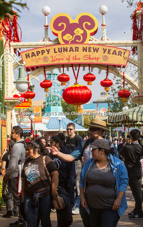 Visitors crowd at the Paradise Garden in Disney California Adventure Park during the Happy Lunar New Year Celebration on Saturday February 21, 2015 in Anaheim, California. (Photo by Ringo Chiu/PHOTOFORMULA.com)