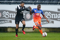 February 3, 2018 - Eupen, BELGIUM - Eupen's Jordan Loties and Gent's Mamadou Sylla fight for the ball during the Jupiler Pro League match between KAS Eupen and KAA Gent, in Eupen, Saturday 03 February 2018, on day 25 of the Jupiler Pro League, the Belgian soccer championship season 2017-2018. BELGA PHOTO BRUNO FAHY (Credit Image: © Bruno Fahy/Belga via ZUMA Press)