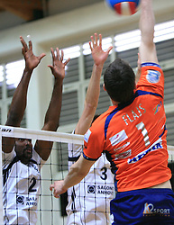 Andre Ricardo Luz vs Andrej Flajs at last final volleyball match of 1.DOL Radenska Classic between OK ACH Volley and Salonit Anhovo, on April 21, 2009, in Arena SGS Radovljica, Slovenia. ACH Volley won the match 3:0 and became Slovenian Champion. (Photo by Vid Ponikvar / Sportida)