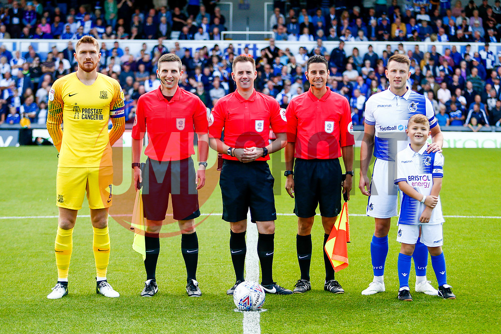 Mark Oxley of Southend United, match officials and Ollie Clarke of Bristol Rovers with captains mascot prior to kick off - Mandatory by-line: Ryan Hiscott/JMP - 25/08/2018 - FOOTBALL - Memorial Stadium - Bristol, England - Bristol Rovers v Southend United - Sky Bet League One