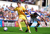 Photo: Leigh Quinnell.<br /> Queens Park Rangers v Southampton. Coca Cola Championship. 01/09/2007. Southamptons Gregory Vignal holds off QPRs  Dexter Blackstock.