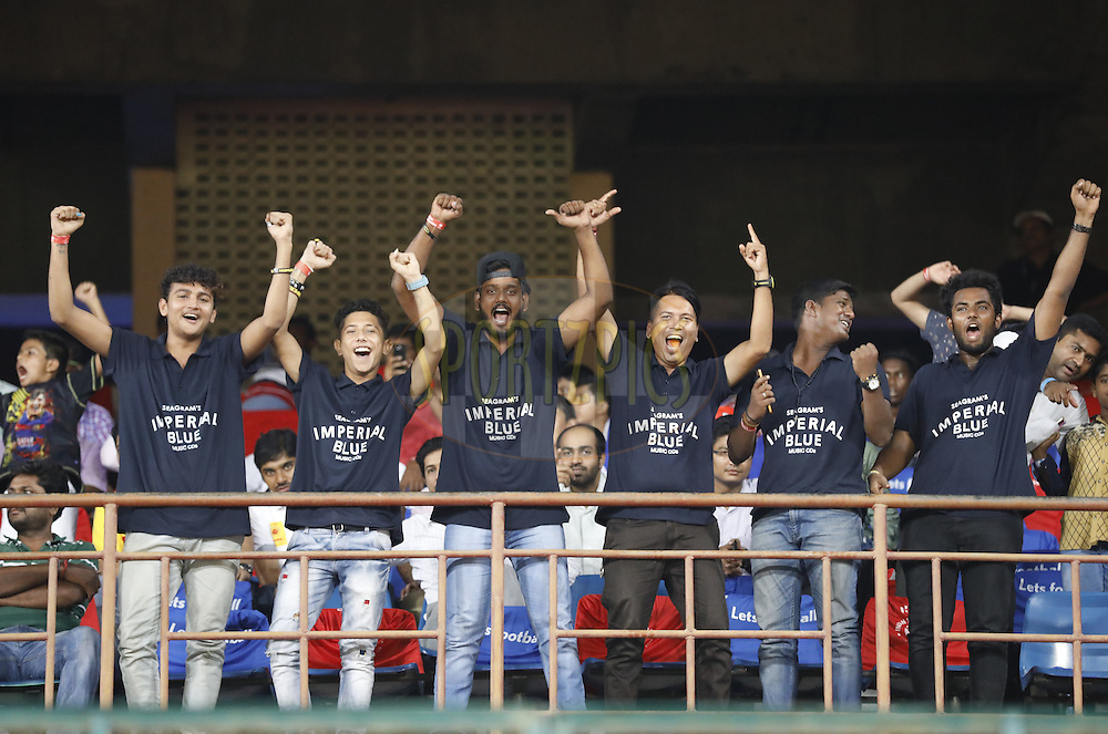 Fans during match 6 of the Indian Super League (ISL) season 3 between Chennaiyin FC and Delhi Dynamos FC held at the Jawaharlal Nehru Stadium in Chennai, India on the 6th October 2016.<br /> <br /> Photo by Arjun Singh / ISL/ SPORTZPICS
