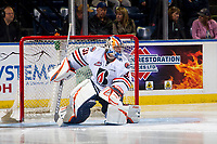 KELOWNA, CANADA - SEPTEMBER 22: Dylan Ferguson #31 of the Kamloops Blazers defends the net against the Kelowna Rockets on September 22, 2018 at Prospera Place in Kelowna, British Columbia, Canada.  (Photo by Marissa Baecker/Shoot the Breeze)  *** Local Caption ***