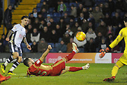 Bury Forward, Dom Telford (18)scores to make it 2-3 goal during the EFL Sky Bet League 2 match between Bury and Milton Keynes Dons at the JD Stadium, Bury, England on 12 January 2019.