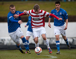 Cowdenbeath's Kenneth Adamson and Hamilton's Ryan Andrew..half time : Cowdenbeath v Hamilton, 9/3/2013..©Michael Schofield..
