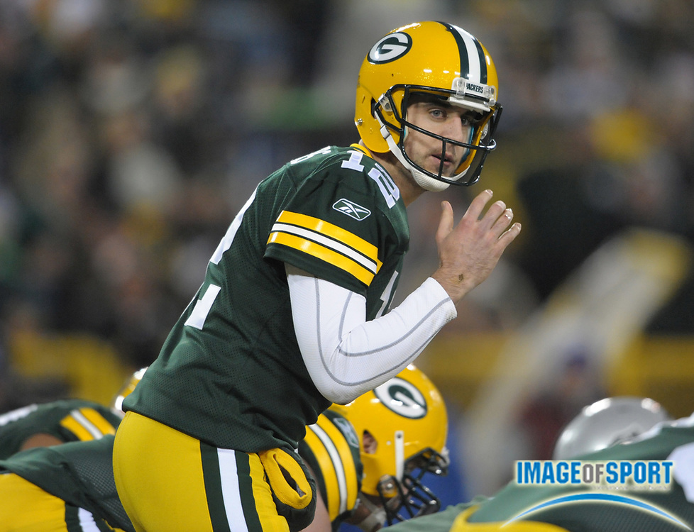 Dec 11, 2011; Green Bay, WI, USA; Green Bay Packers quarterback Aaron Rodgers (12) gestures during the game against the Oakland Raiders at Lambeau Field. The Packers defeated the Raiders 46-16.