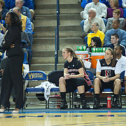 Northeastern Head Coach Daynia La-Force walking the sidelines in first half of an NCAA college basketball game against Delaware Sunday, Feb. 26, 2012 at the Bob Carpenter Center in Newark, Del.