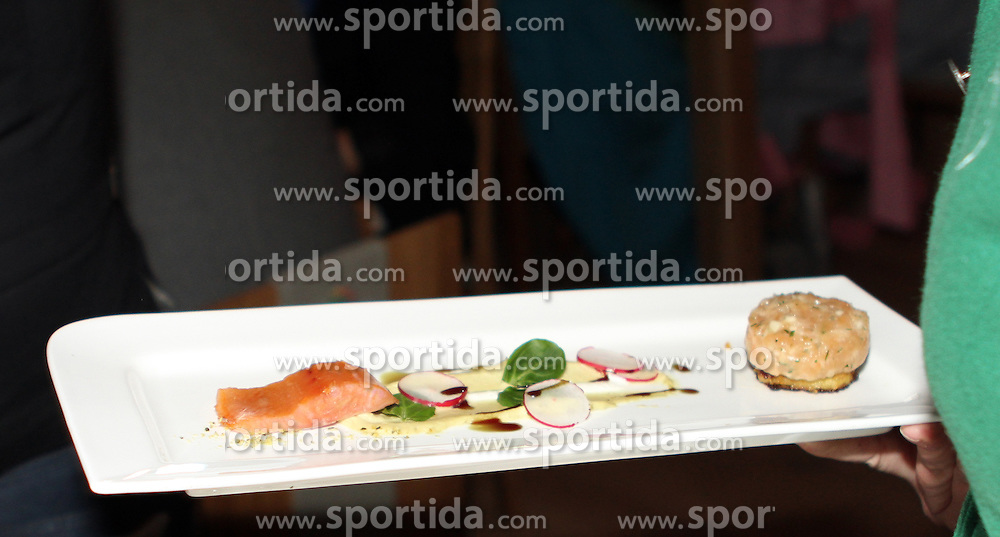 07.02.2013, Haus Ski Austria, Schladming, AUT, FIS Weltmeisterschaften Ski Alpin, Schladming-Abend, im Bild die Vorspeise für die Gaeste des Abends // appetizer at the Schladming-evening during FIS Ski World Championships 2013 at the Ski Austria House, Schladming, Austria on 2013/02/07. EXPA Pictures © 2013, PhotoCredit: EXPA/ Martin Huber