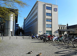 Germany, Freiburg  - March 28, 2019.A couple of ducks pauses (making a nap) in front of the Deutsche Bank next to the police station (Credit Image: © Antonio Pisacreta/Ropi via ZUMA Press)