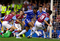 Photo: Daniel Hambury.<br /> Chelsea v Aston Villa. The Barclays Premiership. 30/09/2006.<br /> Chelsea's Didier Drogba scores to make it 1-0.