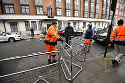 © Licensed to London News Pictures. 03/04/2018. London, UK. Barriers being placed outside the King Edward VII Hospital in central London after The Duke of Edinburgh was admitted. Prince Philip is having a planned operation tomorrow on is hip and is expected to stay for a few days. Photo credit: Ben Cawthra/LNP