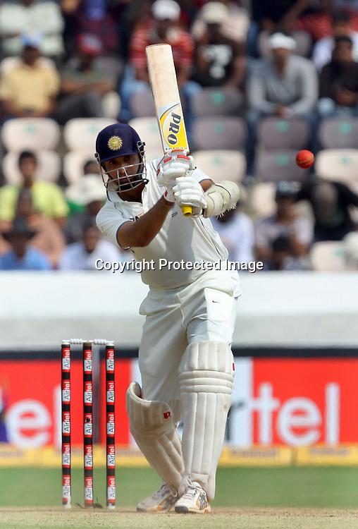 Indian batsman VVS Laxman plays shot a aganist New Zealand during the 3rd day of the 2nd test match India vs New Zealand Played at Rajiv Gandhi International Stadium, Uppal, Hyderabad 14, November 2010 (5-day match)