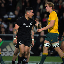 All Blacks halfback Aaron Smith celebrates scoring on the stroke of halftime during the Rugby Championship and Bledisloe Cup rugby match between the New Zealand All Blacks and Australia Wallabies at Forsyth Barr Stadium in Dunedin, New Zealand on Saturday, 26 August 2017. Photo: Dave Lintott / lintottphoto.co.nz