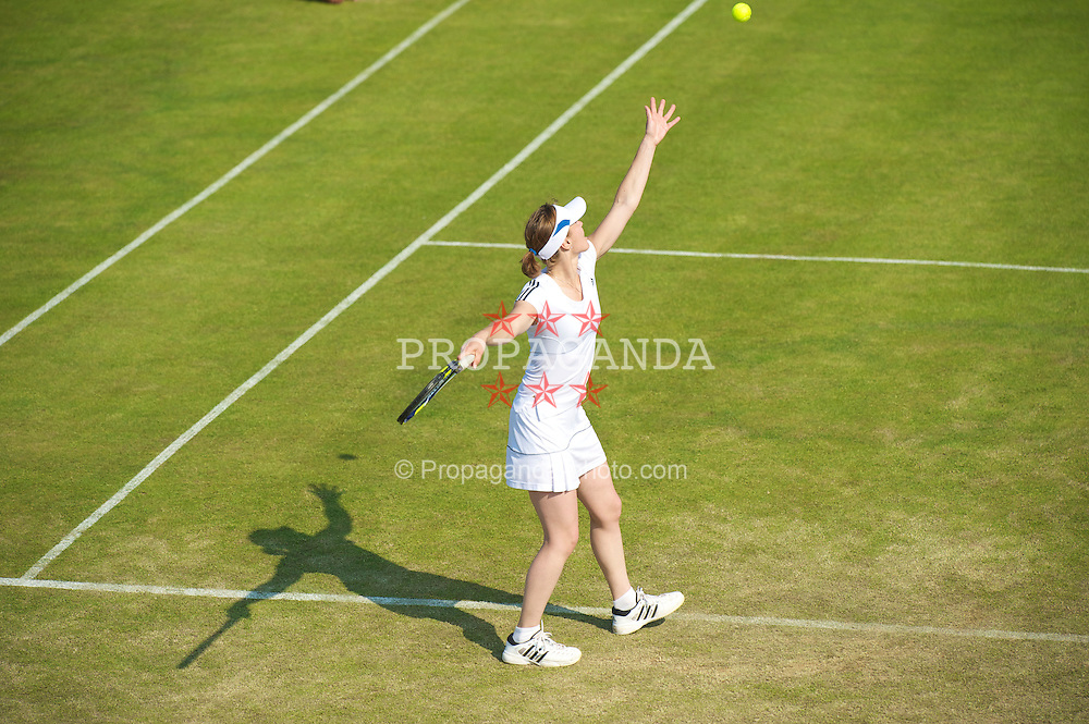 LIVERPOOL, ENGLAND - Thursday, June 17, 2010: Martina Hingis (SUI) duirng the Ladies' Singles match on day two of the Liverpool International Tennis Tournament at Calderstones Park. (Pic by David Rawcliffe/Propaganda)