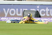Sean Ervine takes a catch to dismiss Jos Buttler during the NatWest T20 Blast Semi Final match between Hampshire County Cricket Club and Lancashire County Cricket Club at Edgbaston, Birmingham, United Kingdom on 29 August 2015. Photo by David Vokes.
