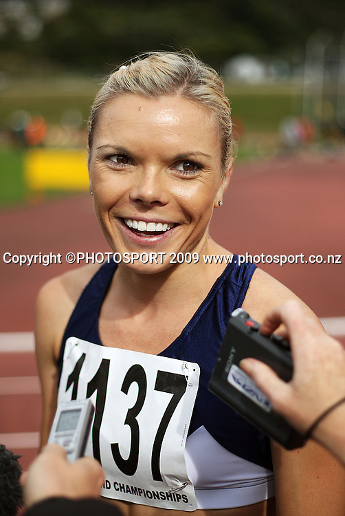 Auckland's Monique Williams after winning the women's 100m final.<br /> National athletics championships at Newtown Park, Wellington. Friday, 27 March 2009. Photo: Dave Lintott/PHOTOSPORT
