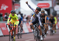 Barbara Guarischi of Velocio Sports the winner of the Prudential RideLondon Grand Prix Pro Women&rsquo;s Race, during Prudential RideLondon,  2015 Saturday 1st August, 2015. <br /> <br /> Prudential RideLondon is the world&rsquo;s greatest festival of cycling, involving 95,000+ cyclists &ndash; from Olympic champions to a free family fun ride - riding in five events over closed roads in London and Surrey over the weekend of 1st and 2nd August 2015. <br /> <br /> Photo: Jon Buckle for Prudential RideLondon<br /> <br /> See www.PrudentialRideLondon.co.uk for more.<br /> <br /> For further information: Penny Dain 07799 170433<br /> pennyd@ridelondon.co.uk