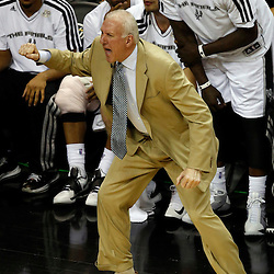 Jun 16, 2013; San Antonio, TX, USA; San Antonio Spurs head coach Gregg Popovich reacts during the second quarter of game five in the 2013 NBA Finals against the Miami Heat at the AT&T Center. Mandatory Credit: Derick E. Hingle-USA TODAY Sports