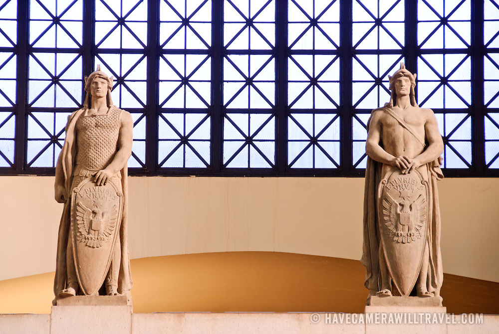 Statues of Roman sentries adorning the inside walls of Union Station in Washington DC.