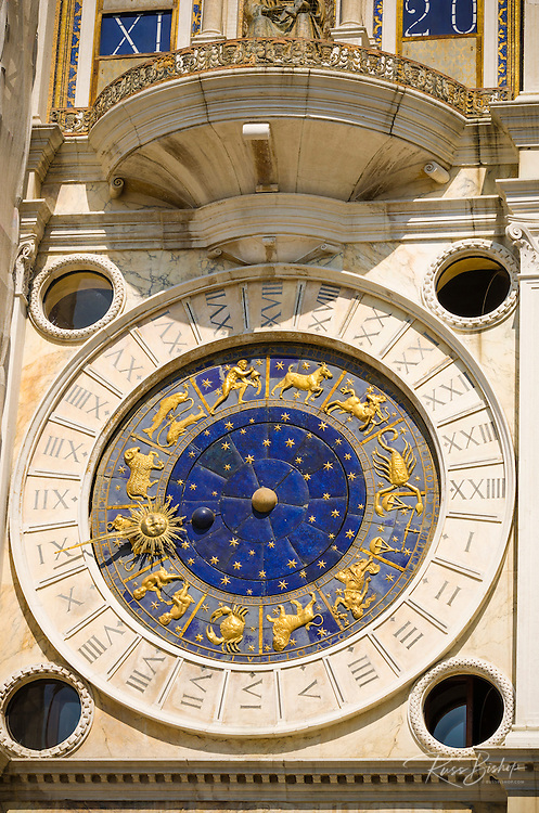 The Torre dell'Orologio (Clock tower) in the Piazza San Marco, Venice, Veneto, Italy