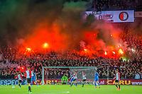 ROTTERDAM - 03-03-2016, Feyenoord - AZ, stadion de Kuip, sfeer on de 12e minuut, fakkels.