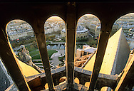 France. Paris. elevated view. forum  des halles garden and bourse du commerce. view from Saint Eustache church bell tower