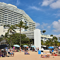 Beach in Front of Ritz-Carlton in Fort Lauderdale, Florida <br /> The section of sand in front of the Ritz-Carlton Hotel and the Beach Place outdoor mall are the epicenter for most of the crowds at Fort Lauderdale Beach. So if you like to share your beach time with lots of people, then that is where to pitch your umbrella.  If you want something quieter, then walk about a half mile in either direction along Fort Lauderdale Beach Boulevard.