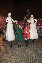 Centre - Left to right, JASMINE HEMSLEY & MELISSA HEMSLEY at the launch of Skate at Somerset House in association with Fortnum & Mason held at Somerset House, The Strand, London on 17th November 2015.