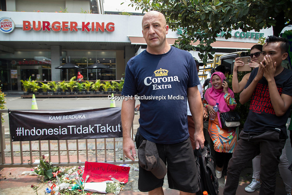 Jakarta, Indonesia 17 January 2016 : <br /> <br /> PATRICK, tourist from CROATIA pay visiting the bombing site and feel sorry for the victim as he felt the same situation also happening on his country. Jakarta back to normal again after the fatal attack at Starbuck Coffee at Thamrin Street. Peoples still visiting to the bombing site to take photos and condemn to the terrorist action.<br /> ©Exclusivepix Media
