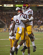 Arizona State University and University of Southern California in a football game on September 26, 2015 in Tempe, AZ.  USC won 42 to 14.  At half, USC led 35 to 0.<br /> <br /> Juju Smith-Schuster (9), Chuma Edoga (70) celebrate