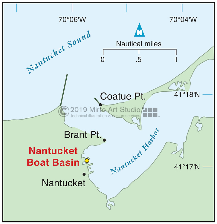 Vector map of Nantucket, Massachusettes marina