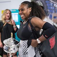 Serena Williams of the United States celebrates winning the women's final on day thirteen of the 2017 Australian Open at Melbourne Park on January 28, 2017 in Melbourne, Australia.<br /> (Ben Solomon/Tennis Australia)