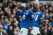 Romelu Lukaku (Everton) celebrates in front of the Everton fans having scored the first goal of the game. 1-0 during the Premier League match between Everton and West Ham United at Goodison Park, Liverpool, England on 30 October 2016. Photo by Mark P Doherty.