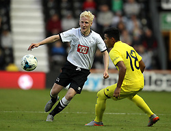 Derby County's Will Hughes passes the ball past Villarreal CF's Matias Nahuel - Mandatory by-line: Robbie Stephenson/JMP - 07966386802 - 29/07/2015 - SPORT - FOOTBALL - Derby,England - iPro Stadium - Derby County v Villarreal CF - Pre-Season Friendly