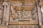 Bas relief sculpture at the Basilica of Our Lady of Solitude church in Oaxaca, Mexico.