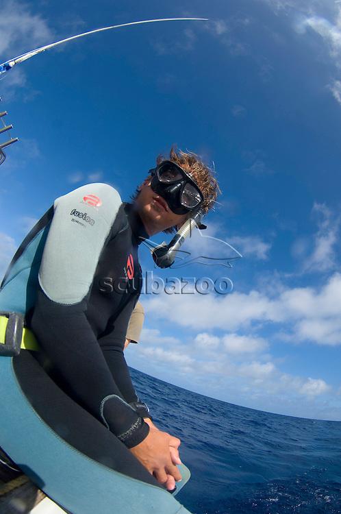 Portrait of Roger Munns in snorkel gear, Toku, Va Va'u, Tonga.