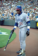 June 27th 1998 Kansas City, MO.Chicago Cubs right fielder Sammy Sosa in the on deck circle during an interleague game at Kauffman Stadium.. Photo by Chris Machian