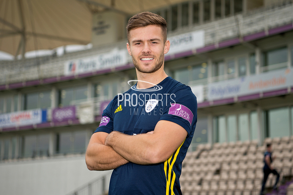 Portrait of Lewis McManus in front of the pavilion during the Hampshire County Cricket Club Media Day at the Ageas Bowl, Southampton, United Kingdom on 10 April 2018. Picture by Dave Vokes.
