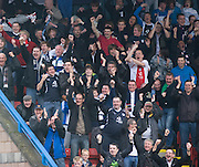Dundee fans celebrate after Leigh Griffiths had given the Dark Blues the lead - Stirling Albion v Dundee, IRN BRU Scottish League 1st Division, Forthbank Stadium, Stirling<br /> <br />  - © David Young<br /> ---<br /> email: david@davidyoungphoto.co.uk<br /> http://www.davidyoungphoto.co.uk
