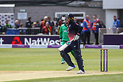 Jason Roy of England gets hit by the ball during the One Day International match between England and Ireland at the Brightside County Ground, Bristol, United Kingdom on 5 May 2017. Photo by Andrew Lewis.