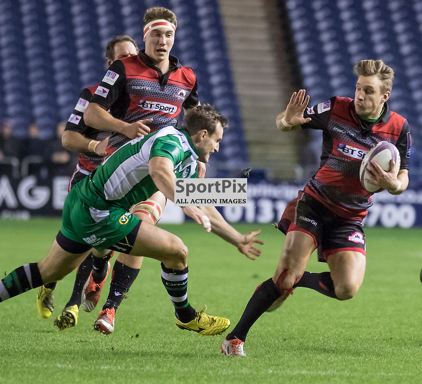 Edinburgh #11 Tom Brown evades the London Irish defence.  Edinburgh Rugby v London Irish, 18th December 2015