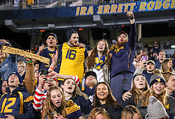 Oct 25, 2018; Morgantown, WV, USA; West Virginia Mountaineers students celebrate after the game against the Baylor Bears at Mountaineer Field at Milan Puskar Stadium. Mandatory Credit: Ben Queen-USA TODAY Sports
