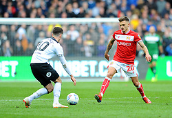 Jamie Paterson of Bristol City competes with Tom Lawrence of Derby County- Mandatory by-line: Nizaam Jones/JMP - 27/04/2019 - FOOTBALL - Ashton Gate - Bristol, England - Bristol City v Derby County - Sky Bet Championship