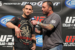 October 7, 2011; Houston, TX.; USA;  UFC Lightweight champion Frankie Edgar at the weigh-ins for his fight against Gray Maynard at UFC 136 in Houston.