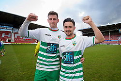 WREXHAM, WALES - Monday, May 2, 2016: The New Saints' goal-scorers Scott Quigley and Ryan Brobbel celebrate after the 2-0 victory over Airbus UK Broughton during the 129th Welsh Cup Final at the Racecourse Ground. (Pic by David Rawcliffe/Propaganda)