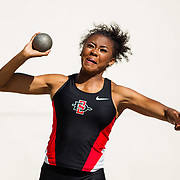 23 March 2018: Asia Smith competes in the open shot put event Friday afternoon at the 40th Annual Aztec Invitational.<br /> More game action at sdsuaztecphotos.com